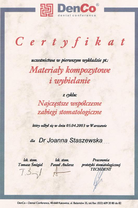 Certyfikat Joanna Staszewska MasterDent