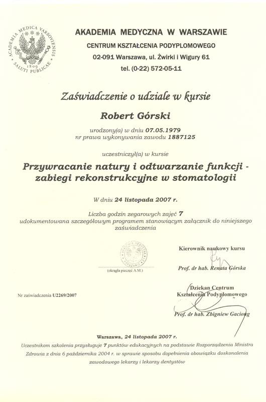 Certyfikat Robert Górski MasterDent